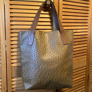 Brown Faux Ostrich Leather Tote